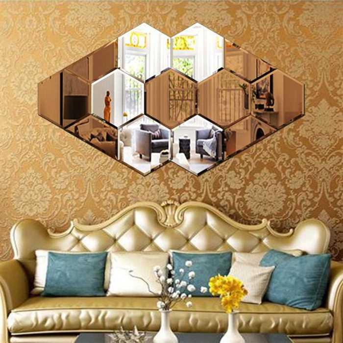 آینه های دکوراتیو فانتزی 3 تکه و شش ضلعی